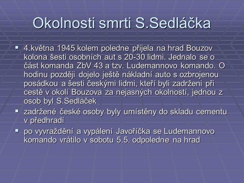 Okolnosti smrti S.Sedláčka