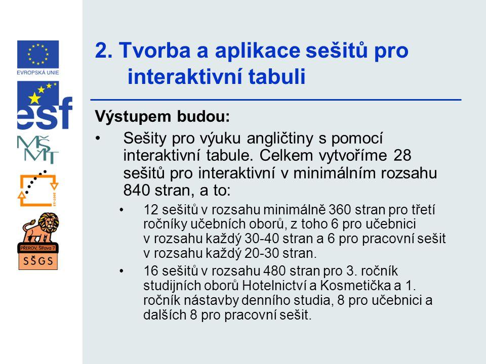 2. Tvorba a aplikace sešitů pro interaktivní tabuli