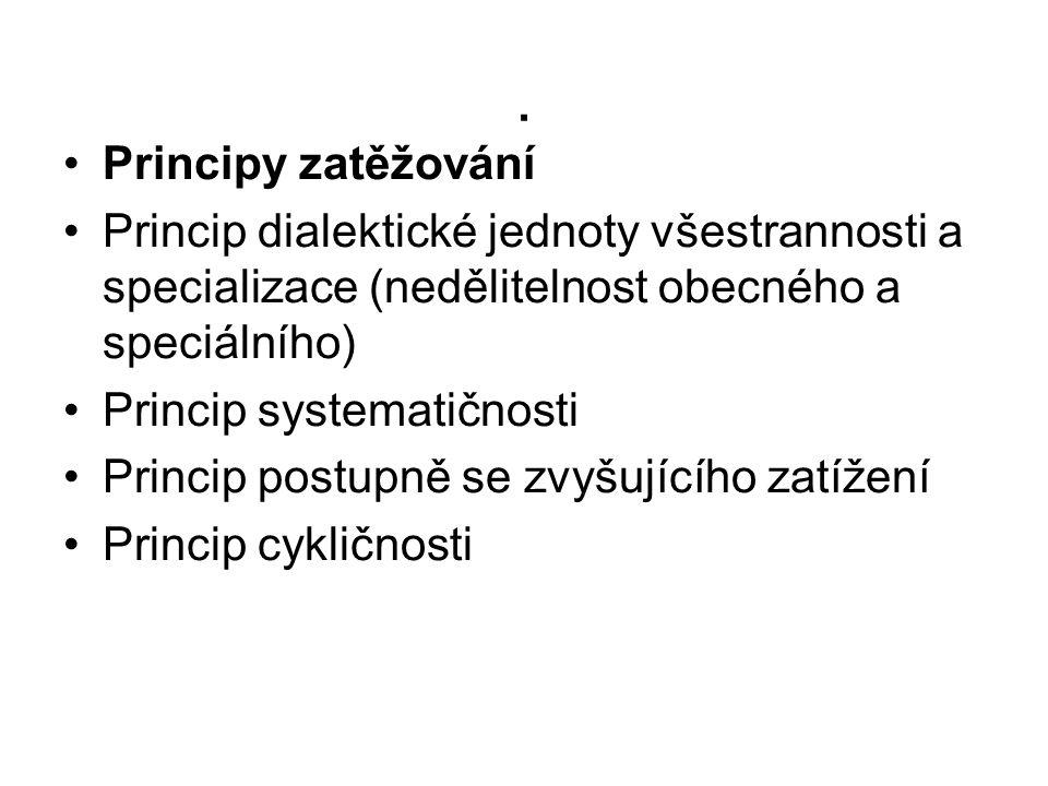 . Principy zatěžování. Princip dialektické jednoty všestrannosti a specializace (nedělitelnost obecného a speciálního)