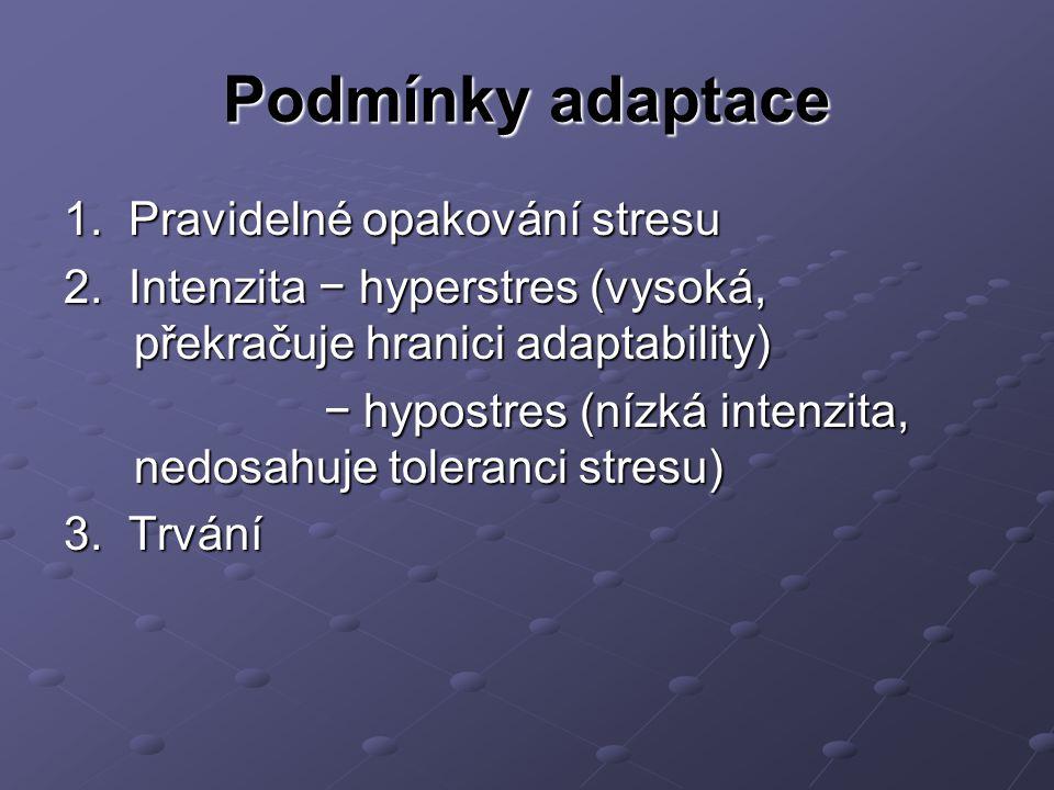 Podmínky adaptace 1. Pravidelné opakování stresu