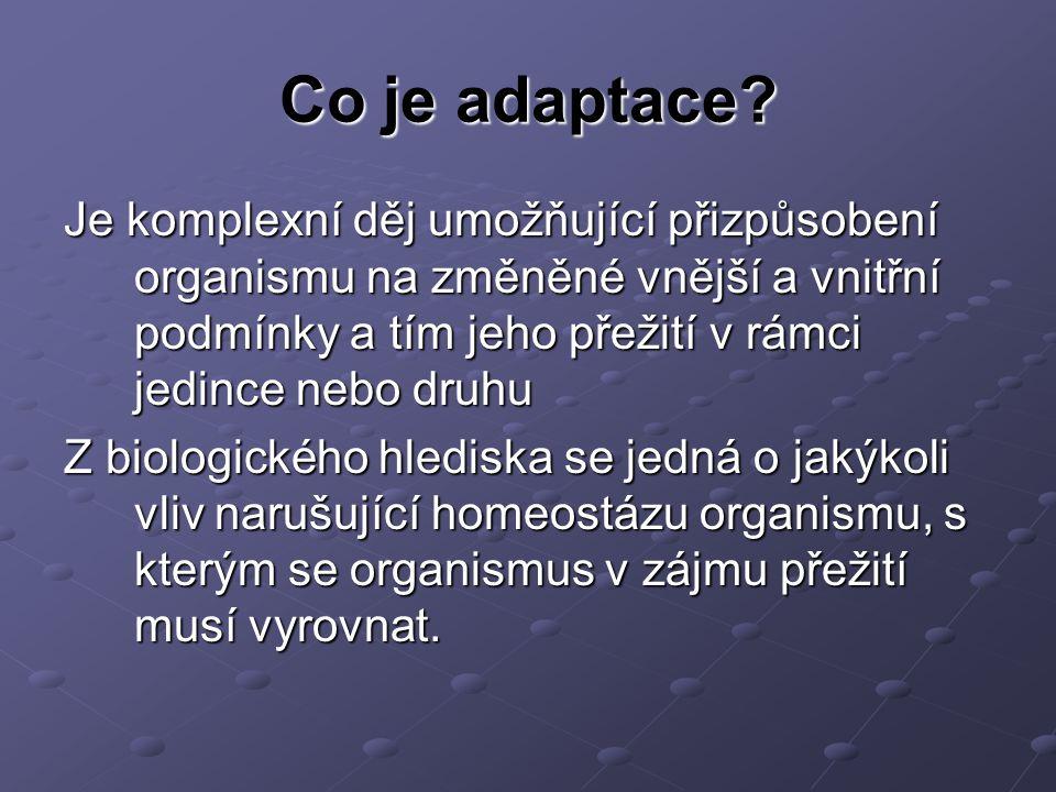 Co je adaptace Je komplexní děj umožňující přizpůsobení organismu na změněné vnější a vnitřní podmínky a tím jeho přežití v rámci jedince nebo druhu.
