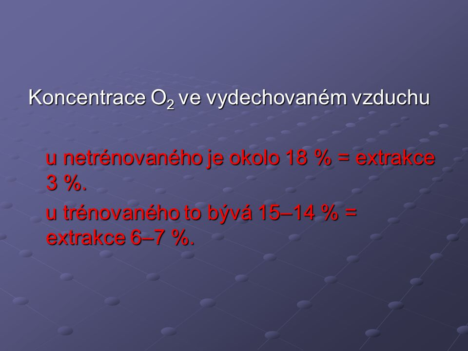 Koncentrace O2 ve vydechovaném vzduchu