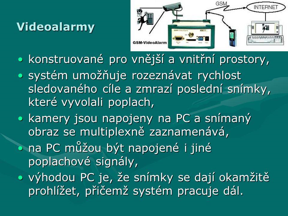 Videoalarmy konstruované pro vnější a vnitřní prostory,
