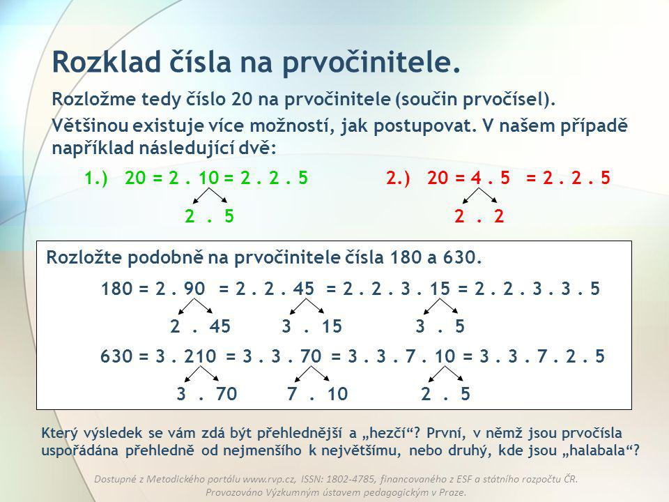 Rozklad čísla na prvočinitele.