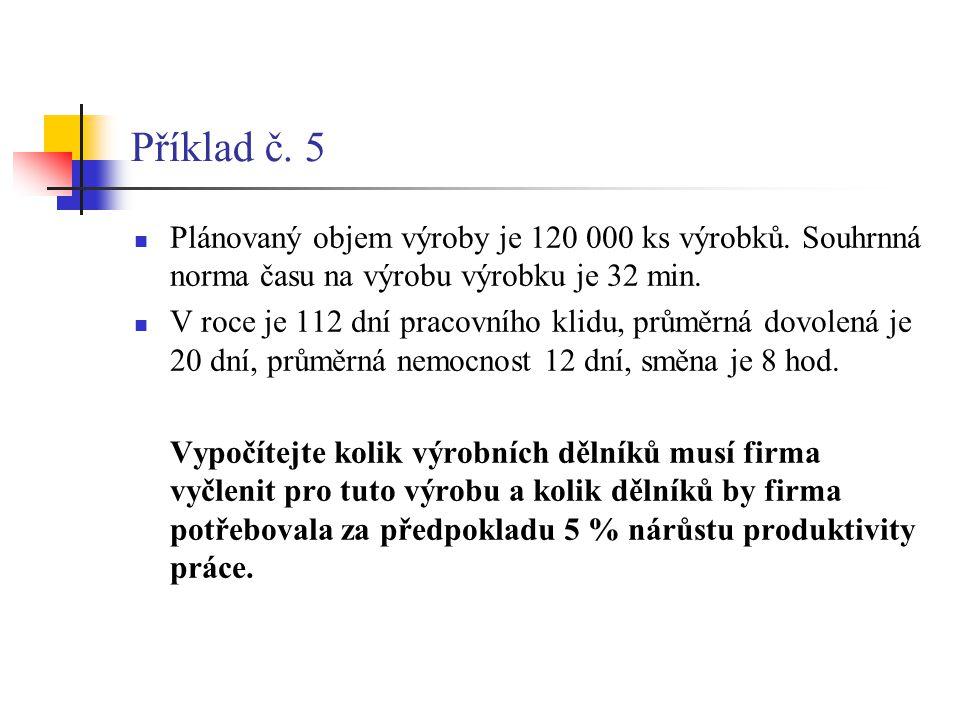Příklad č. 5 Plánovaný objem výroby je 120 000 ks výrobků. Souhrnná norma času na výrobu výrobku je 32 min.
