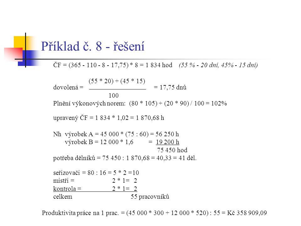 Příklad č. 8 - řešení ČF = (365 - 110 - 8 - 17,75) * 8 = 1 834 hod (55 % - 20 dní, 45% - 15 dní)