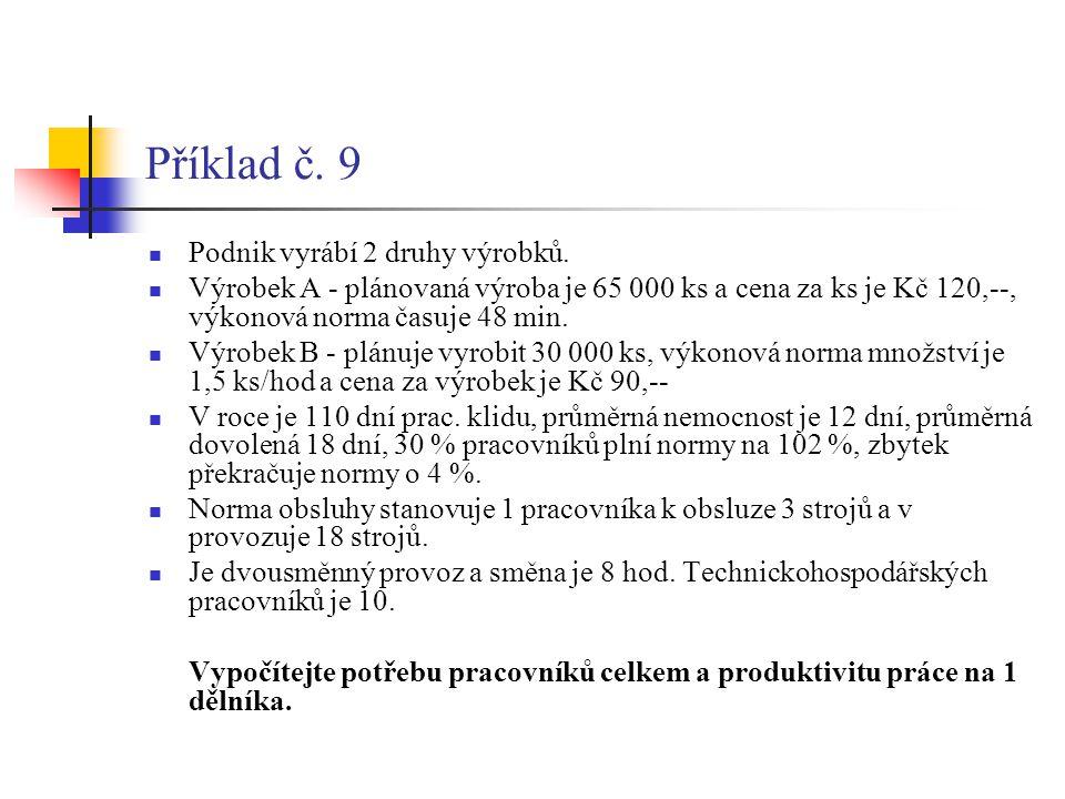 Příklad č. 9 Podnik vyrábí 2 druhy výrobků.