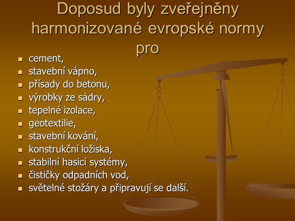 Doposud byly zveřejněny harmonizované evropské normy pro