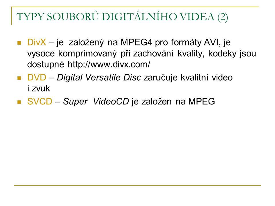 TYPY SOUBORŮ DIGITÁLNÍHO VIDEA (2)