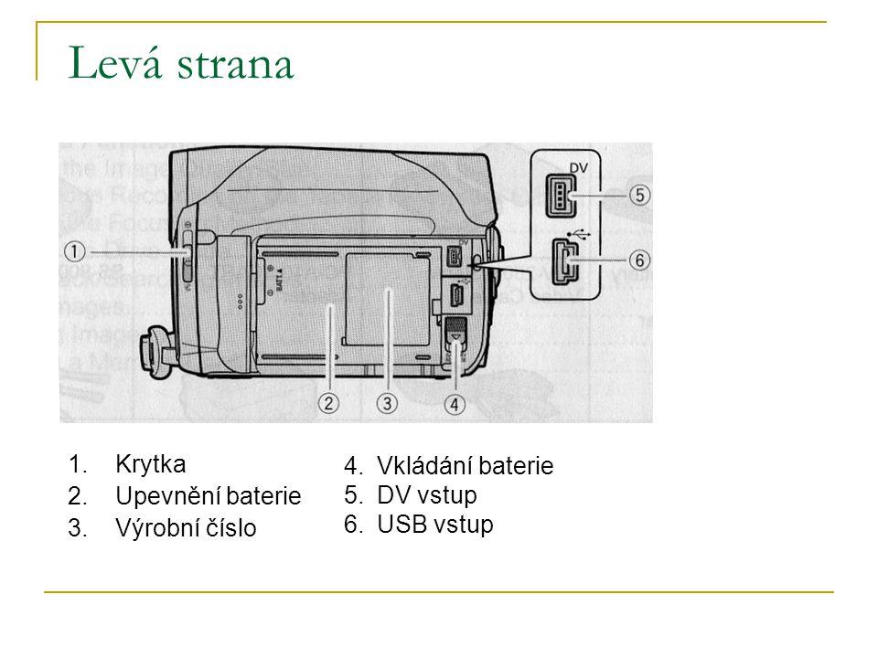 Levá strana Krytka Vkládání baterie Upevnění baterie DV vstup