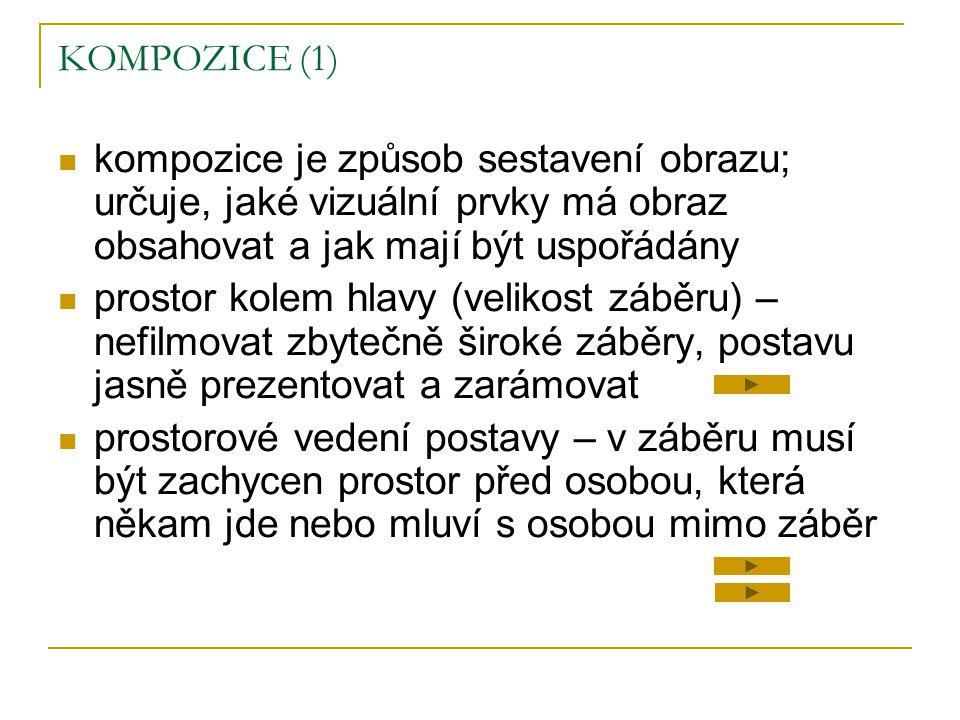 KOMPOZICE (1) kompozice je způsob sestavení obrazu; určuje, jaké vizuální prvky má obraz obsahovat a jak mají být uspořádány.