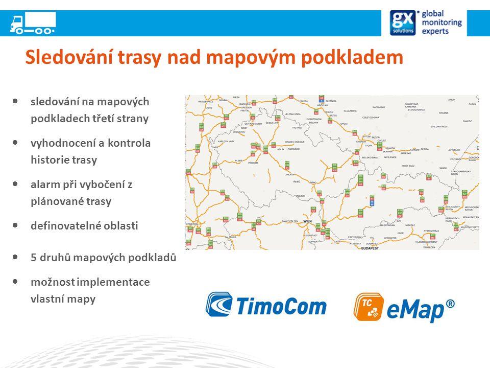 Sledování trasy nad mapovým podkladem