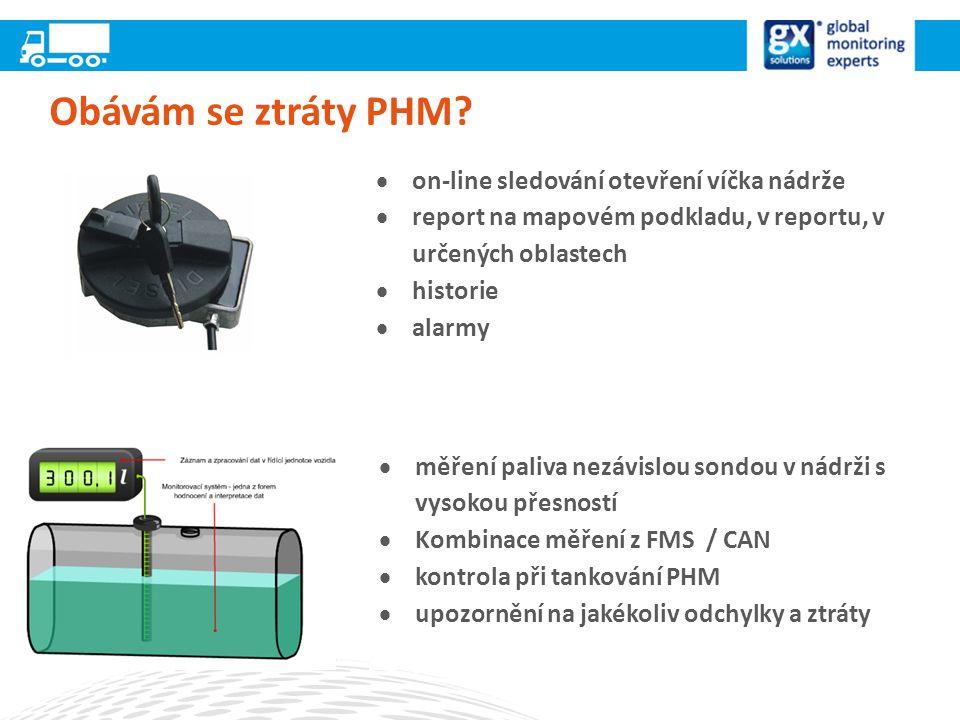 Obávám se ztráty PHM on-line sledování otevření víčka nádrže