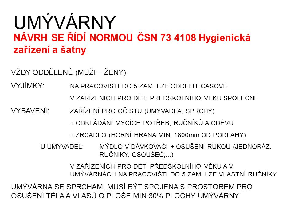 UMÝVÁRNY NÁVRH SE ŘÍDÍ NORMOU ČSN 73 4108 Hygienická zařízení a šatny