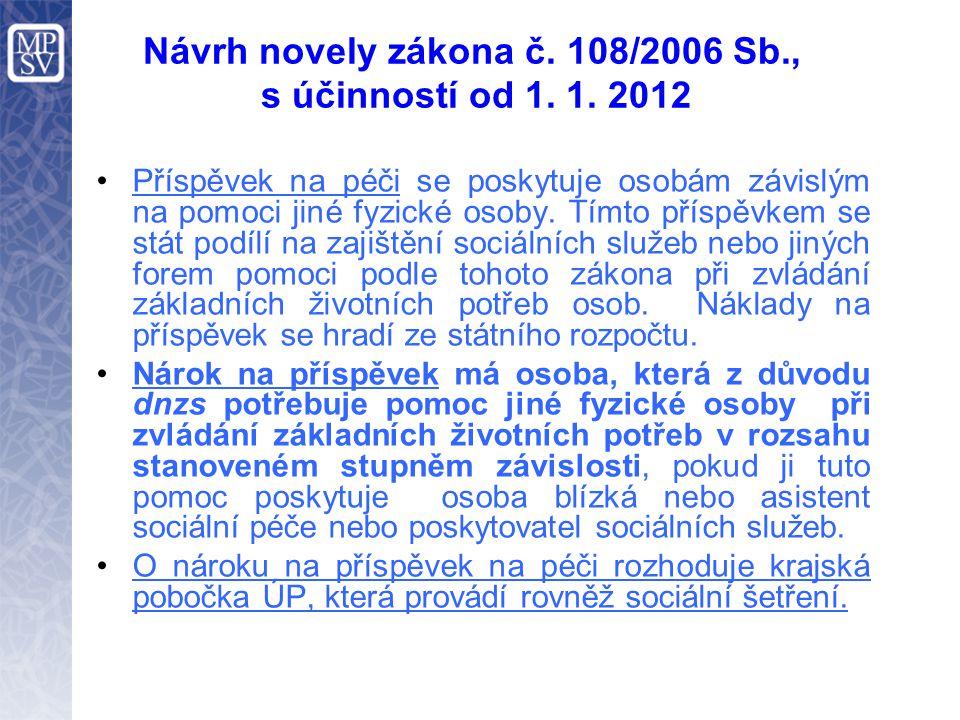 Návrh novely zákona č. 108/2006 Sb., s účinností od 1. 1. 2012