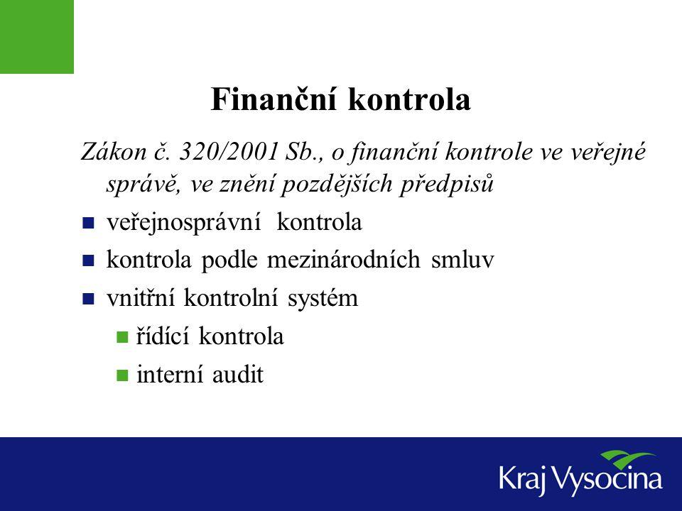 Finanční kontrola Zákon č. 320/2001 Sb., o finanční kontrole ve veřejné správě, ve znění pozdějších předpisů.