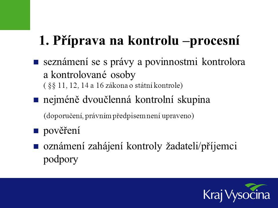 1. Příprava na kontrolu –procesní