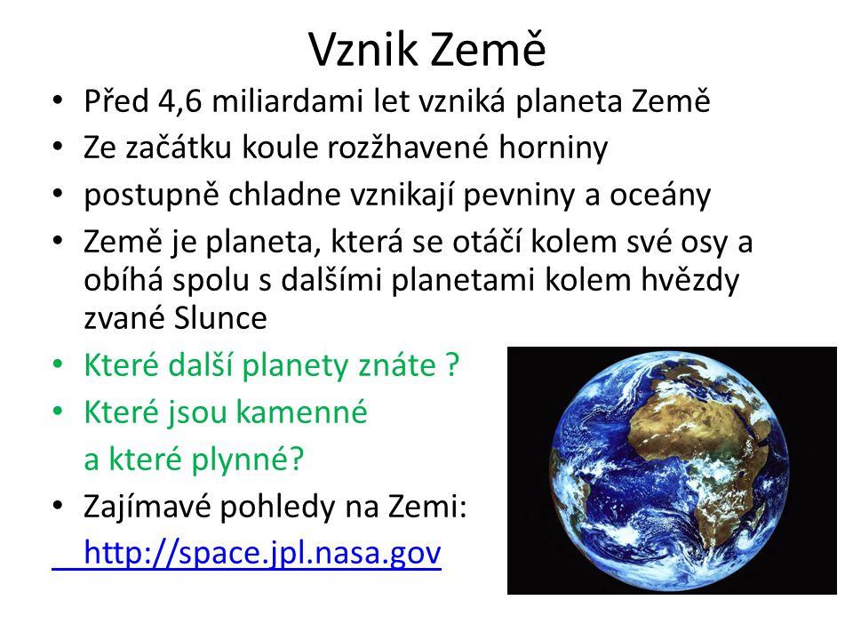 Vznik Země Před 4,6 miliardami let vzniká planeta Země
