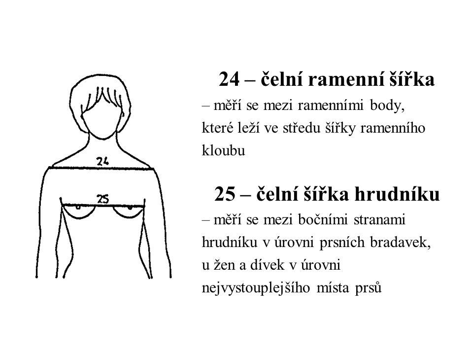 24 – čelní ramenní šířka 25 – čelní šířka hrudníku
