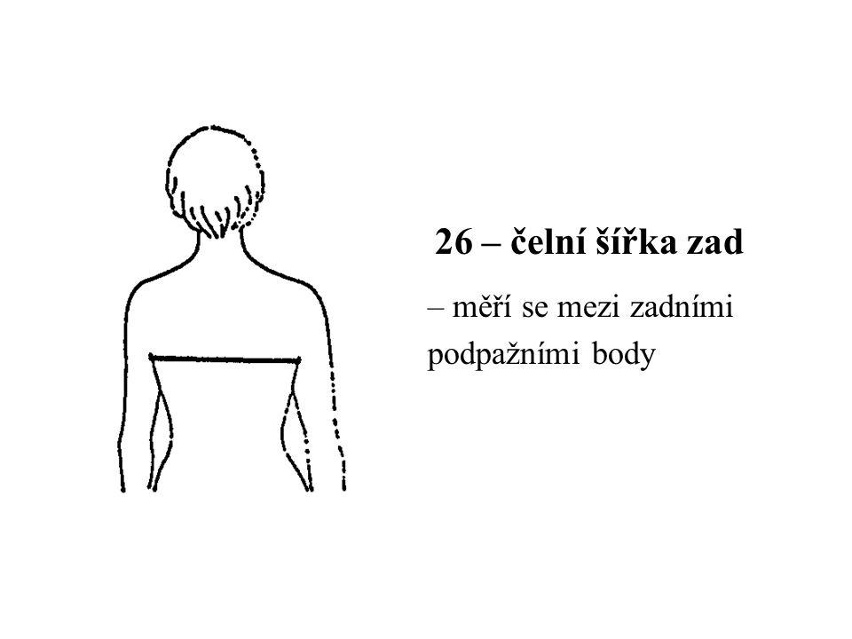 26 – čelní šířka zad – měří se mezi zadními podpažními body