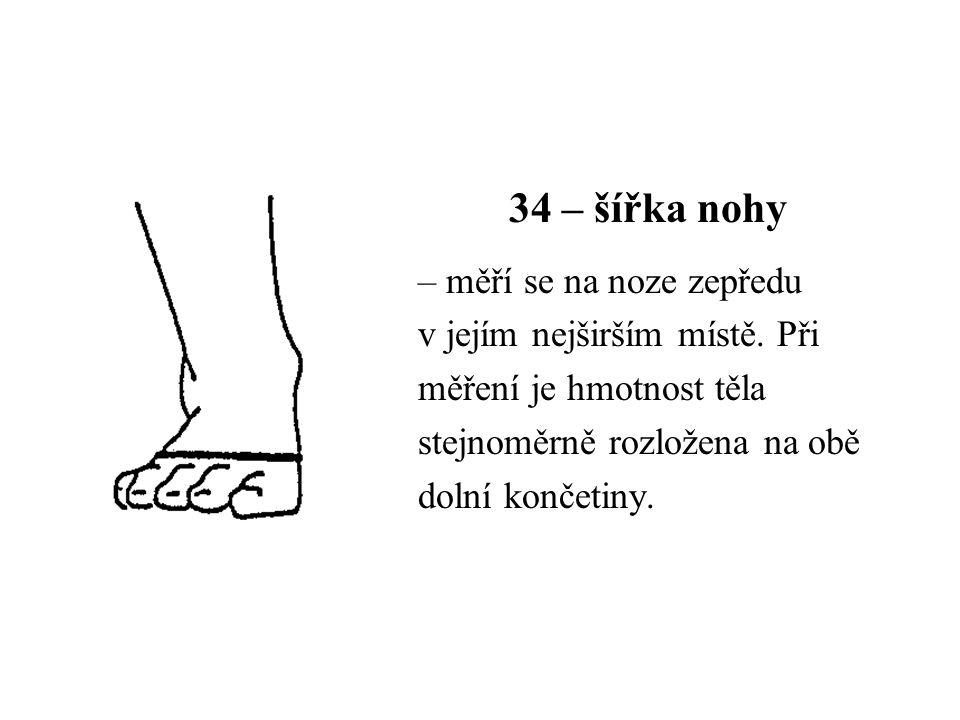 34 – šířka nohy – měří se na noze zepředu v jejím nejširším místě. Při