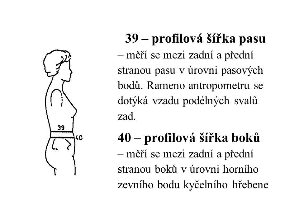 39 – profilová šířka pasu 40 – profilová šířka boků