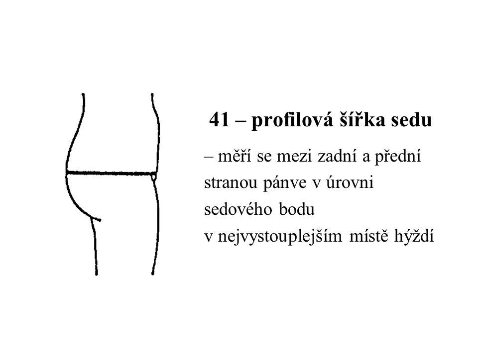41 – profilová šířka sedu – měří se mezi zadní a přední