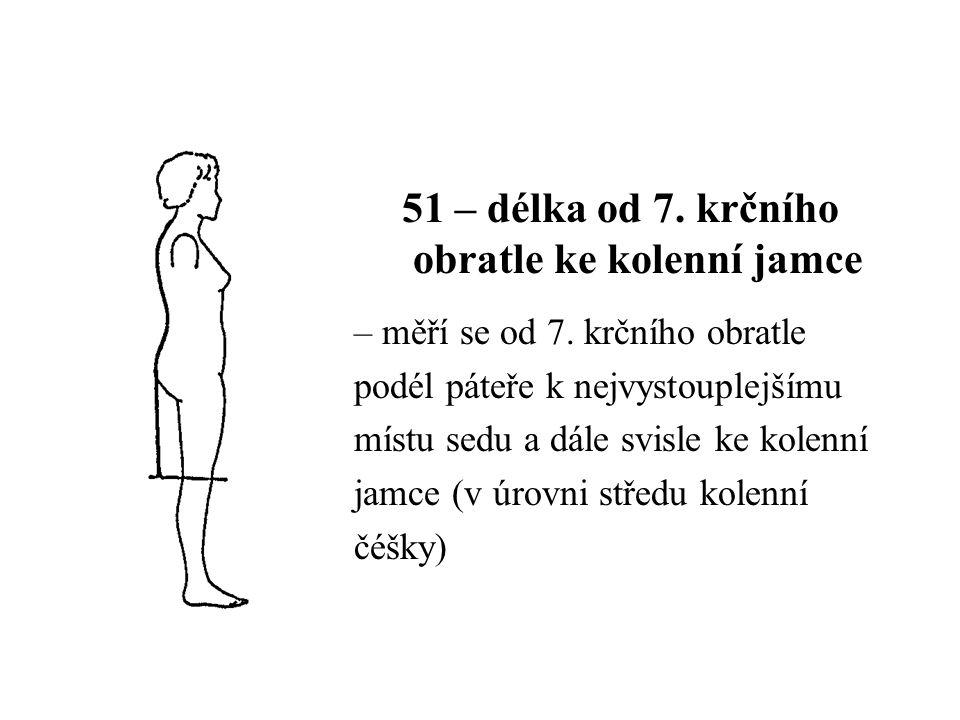 51 – délka od 7. krčního obratle ke kolenní jamce