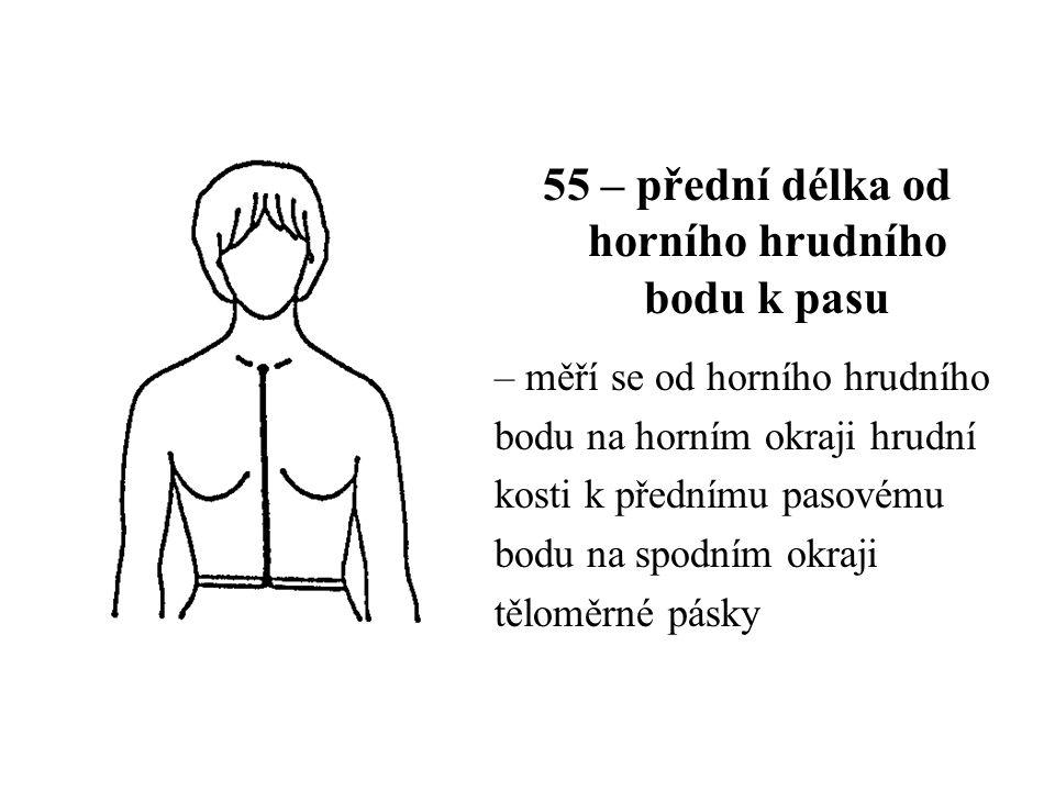 55 – přední délka od horního hrudního bodu k pasu