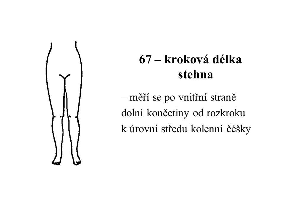 67 – kroková délka stehna – měří se po vnitřní straně