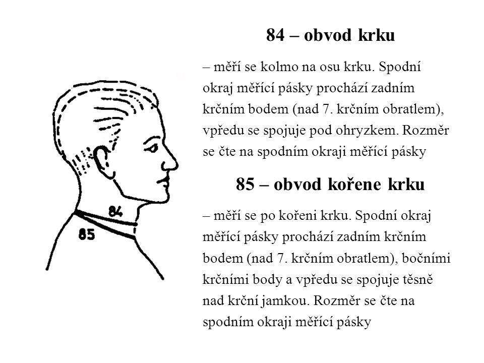 84 – obvod krku 85 – obvod kořene krku