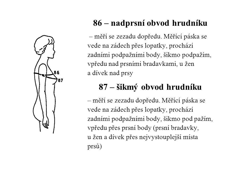 86 – nadprsní obvod hrudníku
