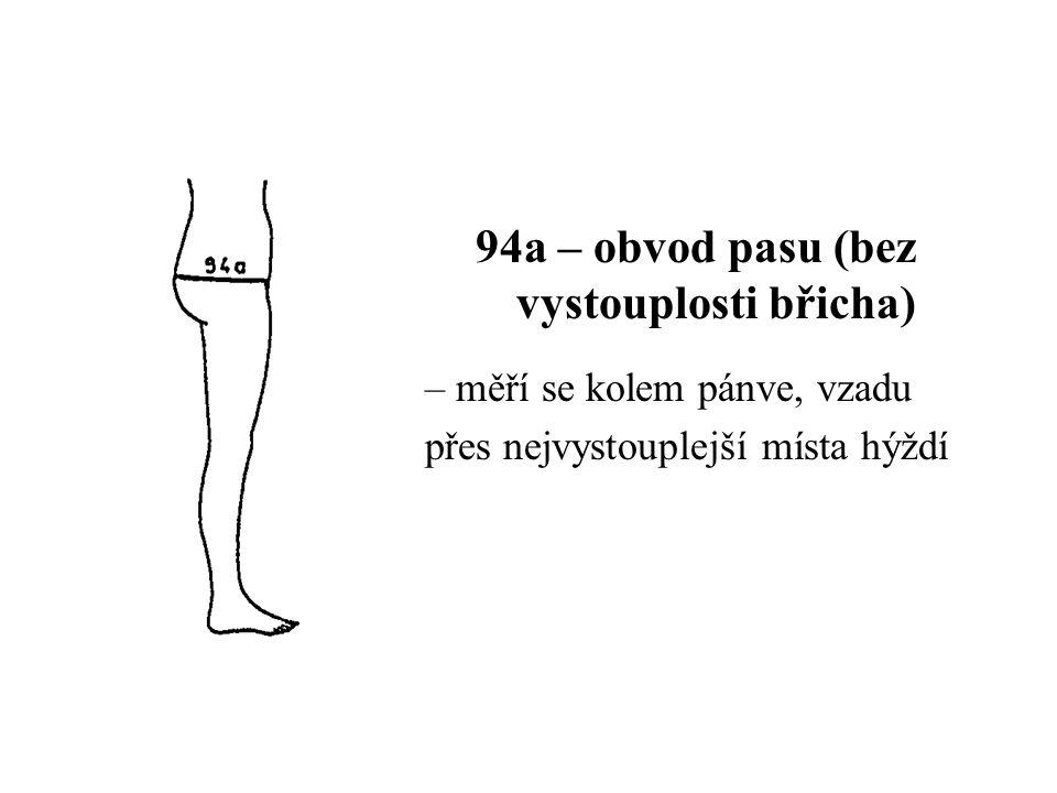 94a – obvod pasu (bez vystouplosti břicha)