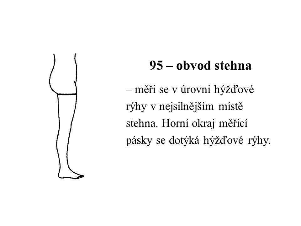 95 – obvod stehna – měří se v úrovni hýžďové rýhy v nejsilnějším místě