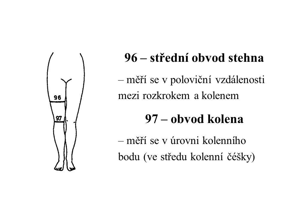 96 – střední obvod stehna 97 – obvod kolena