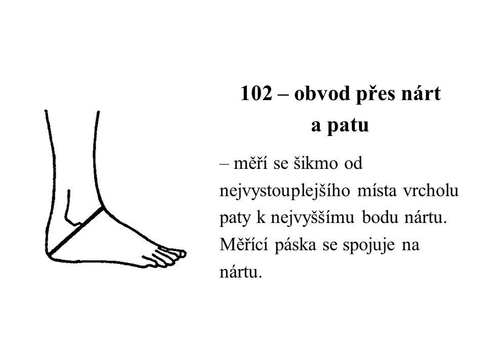 102 – obvod přes nárt a patu – měří se šikmo od