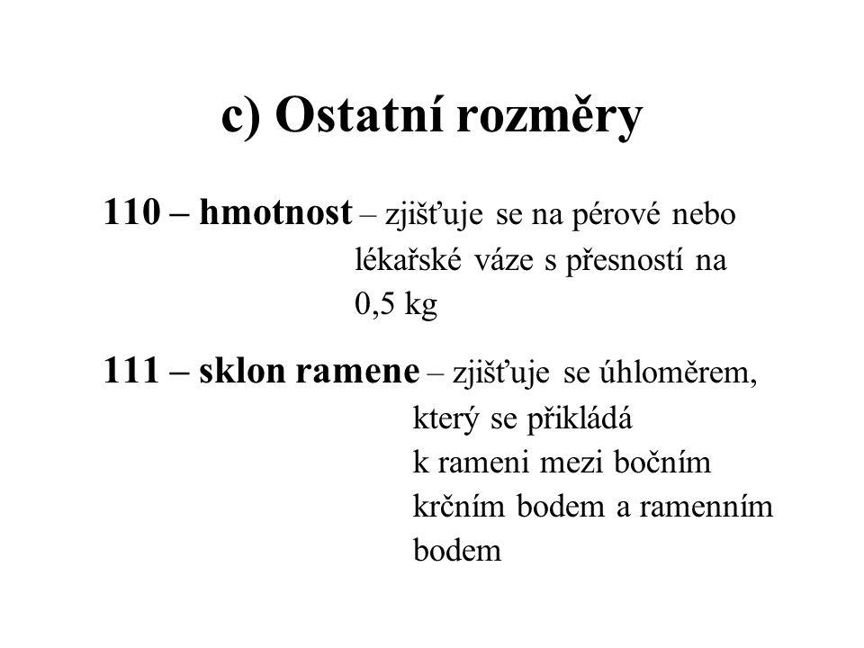 c) Ostatní rozměry 110 – hmotnost – zjišťuje se na pérové nebo