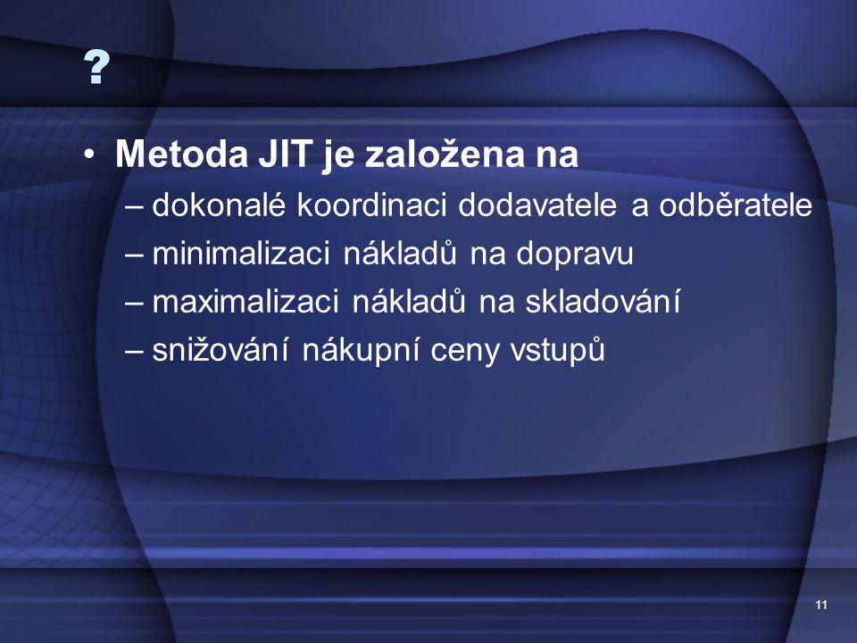 Metoda JIT je založena na