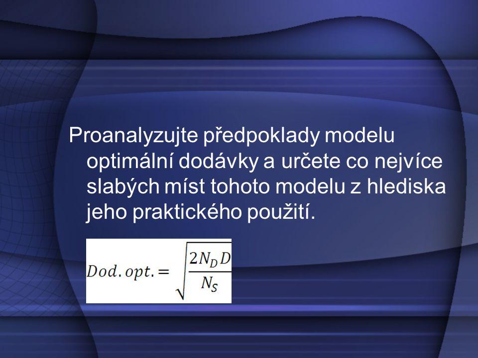 Proanalyzujte předpoklady modelu optimální dodávky a určete co nejvíce slabých míst tohoto modelu z hlediska jeho praktického použití.