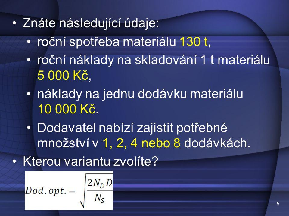 Znáte následující údaje: roční spotřeba materiálu 130 t,