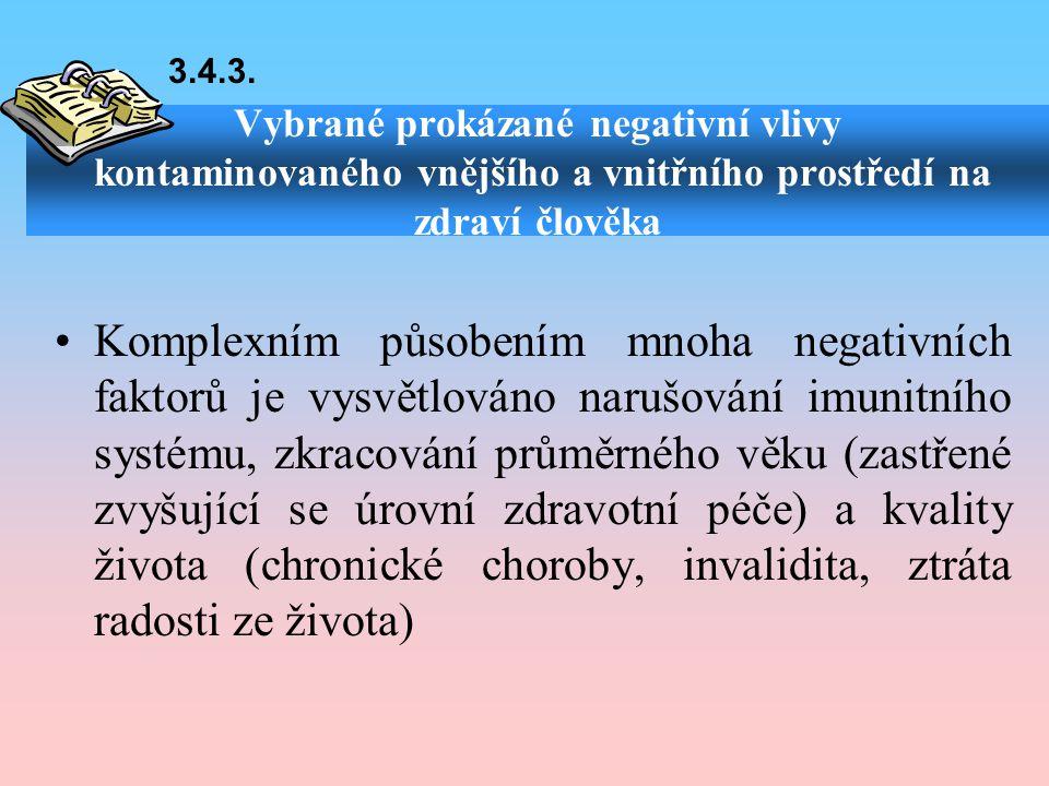 3.4.3. Vybrané prokázané negativní vlivy kontaminovaného vnějšího a vnitřního prostředí na zdraví člověka.