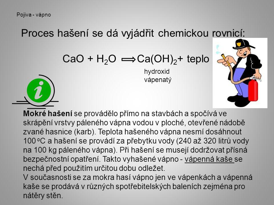 Proces hašení se dá vyjádřit chemickou rovnicí: