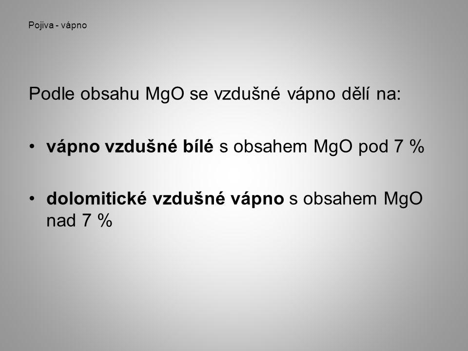 Podle obsahu MgO se vzdušné vápno dělí na:
