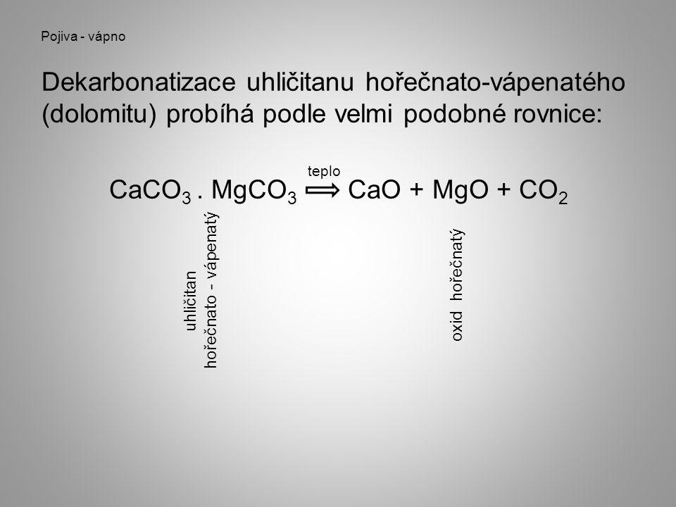 Pojiva - vápno Dekarbonatizace uhličitanu hořečnato-vápenatého (dolomitu) probíhá podle velmi podobné rovnice: CaCO3 . MgCO3 CaO + MgO + CO2