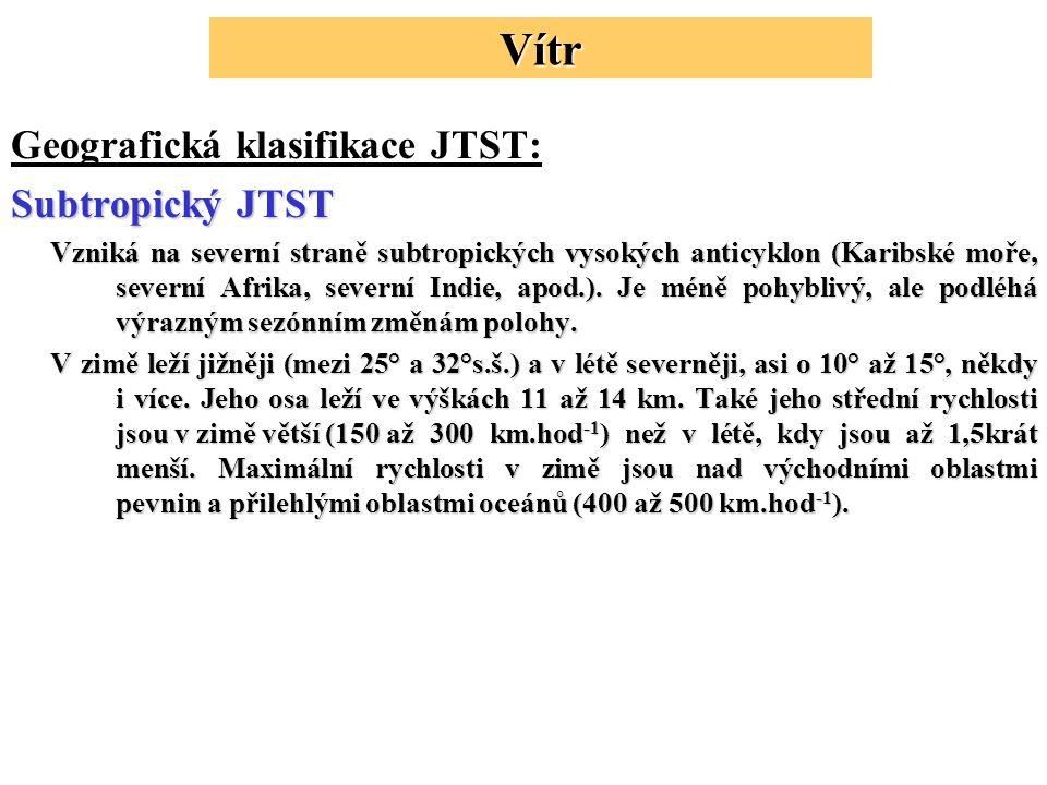 Vítr Geografická klasifikace JTST: Subtropický JTST