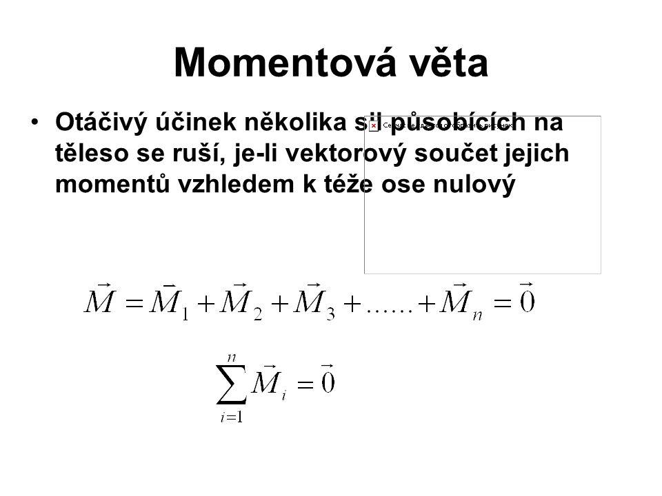 Momentová věta Otáčivý účinek několika sil působících na těleso se ruší, je-li vektorový součet jejich momentů vzhledem k téže ose nulový.