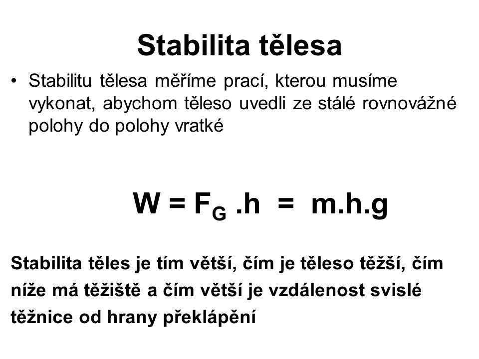Stabilita tělesa W = FG .h = m.h.g
