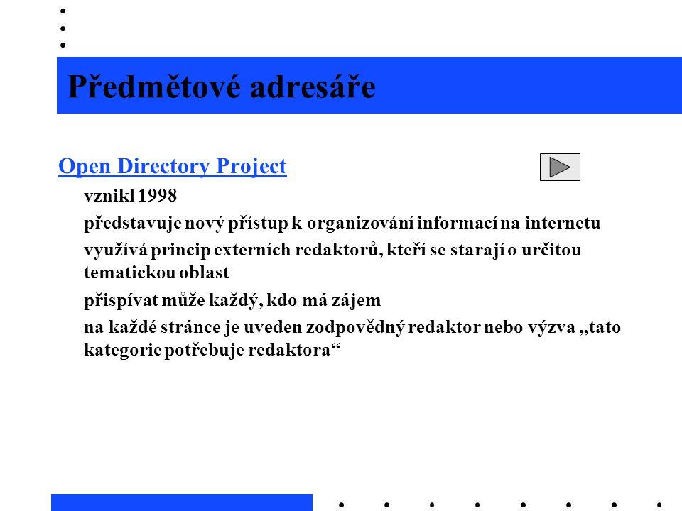 Předmětové adresáře Open Directory Project vznikl 1998