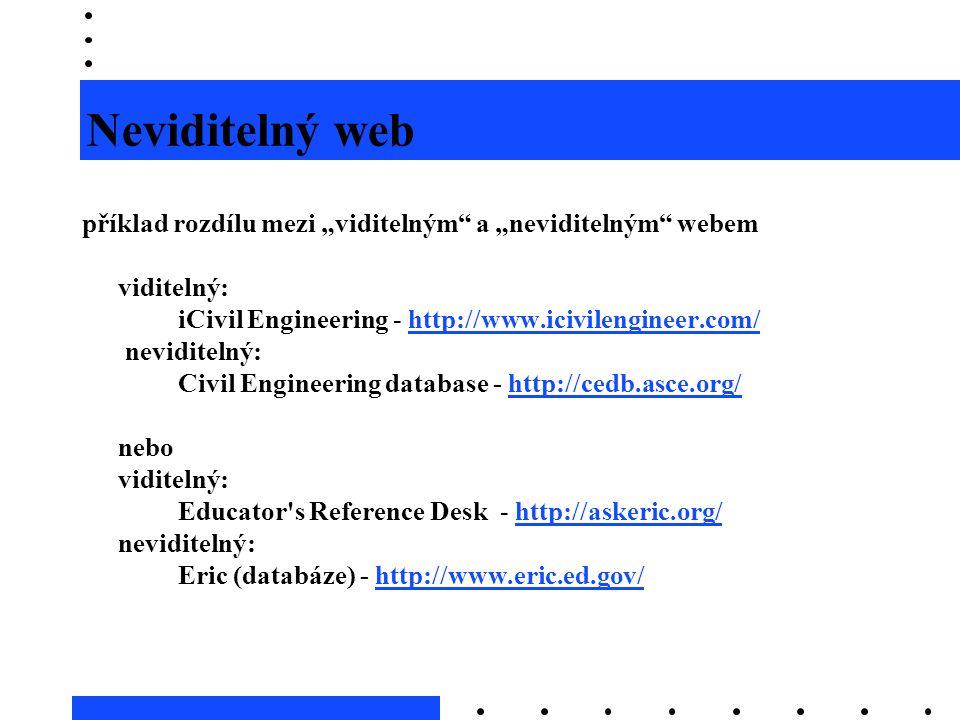 """Neviditelný web příklad rozdílu mezi """"viditelným a """"neviditelným webem. viditelný: iCivil Engineering - http://www.icivilengineer.com/"""