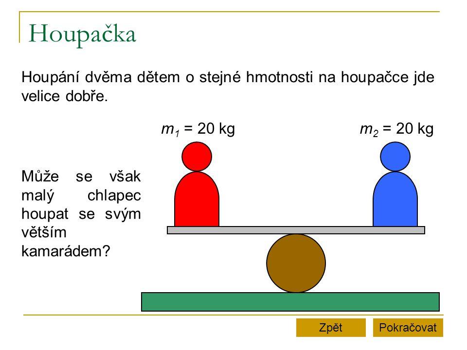 Houpačka Houpání dvěma dětem o stejné hmotnosti na houpačce jde velice dobře. m1 = 20 kg. m2 = 20 kg.